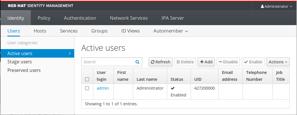 A screenshot of the first screen visible after logging in to the IdM Web UI. There are 5 tabs listed along the top of the screen: Identity - Policy - Authentication - Network Services - IPA Server. The Identity tab has been selected and it is displaying the Users page which is the first menu item among 6 choices just below the tabs: Users - Hosts - Services - Groups - ID Views - Automember. The Active users page displays a table of user logins and their information: First name - Last name - Status - UID - Email address - Telephone number - Job Title.