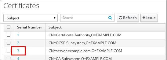 """IdM Web UI 的""""证书""""页面截图,其中显示了证书表。证书按其串行号及其主题组织。表中的第三证书将突出显示 Serial Number """"3""""。"""