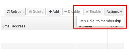 """突出显示""""重新构建自动成员资格""""的屏幕截图是""""选项""""下拉菜单中的选项。"""