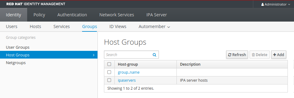 """A screenshot of the IdM Web UI displaying the """"Host Groups"""" page which is part of the """"Groups"""" sub-page from the """"Identity"""" tab. There is a search field above a table listing host groups."""