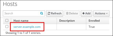 """显示主机表及其属性的""""Hosts""""屏幕截图:""""主机名称"""" - """"Description"""" - """"Enrolled""""。 突出显示第一个条目的主机名。"""