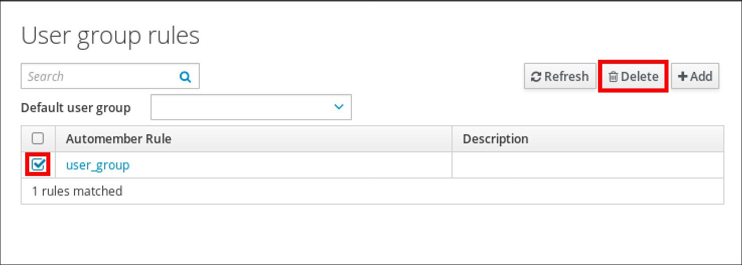 """User group rules""页面截图,其中显示了自动成员规则表。已选中""user_group""条目的复选框,并突出显示""删除""按钮。"