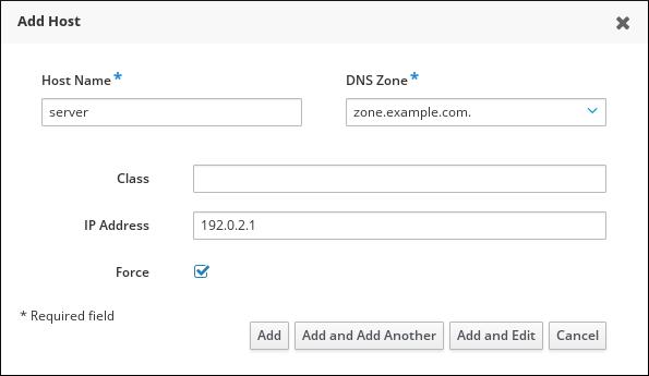通过以下字段填充 Add Host Wizard 的截图:主机名 - DNS Zone - IP 地址