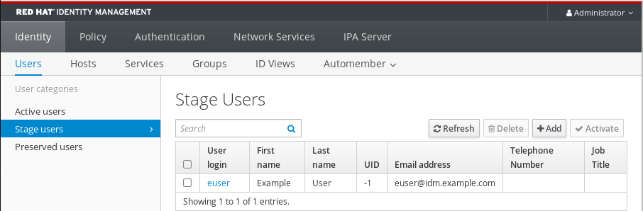 Screenshot of the IdM Web UI showing user entries in the Stage Users table. This is selected from the Identity tab - the Users sub-tab - and the Stage users category listed on the left.
