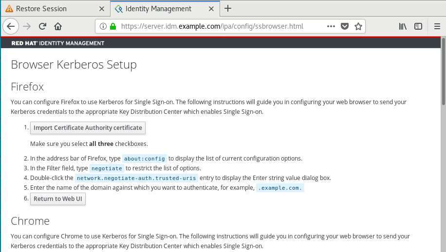 """A screenshot of a web browser with instructions for """"Browser Kerberos Setup."""""""