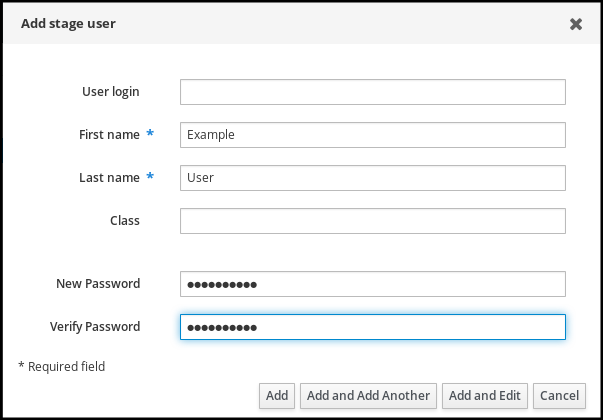 """Screenshot of the """"Add stage user"""" pop-up window with the """"New Password"""" the """"Verify Password"""" fields filled in. The """"Add"""" button is at the bottom left."""