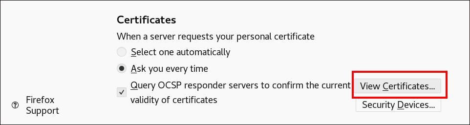 """系统将突出显示底部""""证书""""部分和""""查看证书""""按钮的屏幕截图。"""