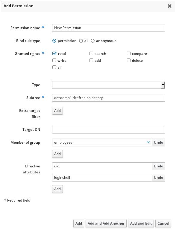 Form for adding a permission