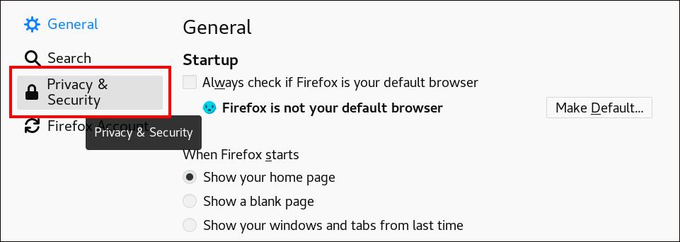 "Firefox 设置页面的截图以及""Privacy & Security""选项被突出显示。"