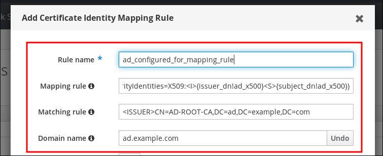 """""""添加证书身份映射规则""""弹出窗口的截图并填写以下字段:规则名称(必需)- 映射规则 - 匹配规则。""""Priority""""字段为空,""""Domain name""""标签旁边还有一个""""添加""""按钮。"""