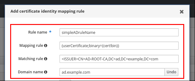 """""""添加证书身份映射规则""""弹出窗口的截图并填写以下字段:规则名称(必需)- 映射规则 - 匹配规则。Priority 字段为空,""""Domain name""""标签旁边还有一个""""添加""""按钮。"""