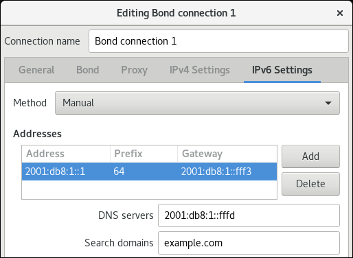bond IPv6 settings nm connection editor