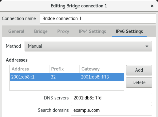 bridge IPv6 settings nm connection editor