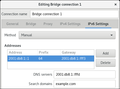 bridge IPv6 settings nm connection editor