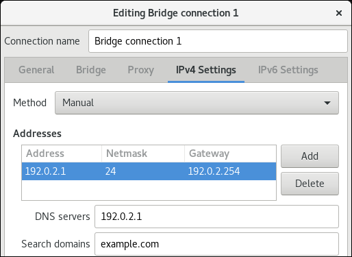 bridge IPv4 settings nm connection editor