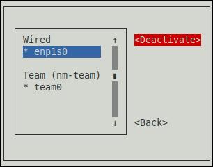 nmtui Deactivate a Modified Connection