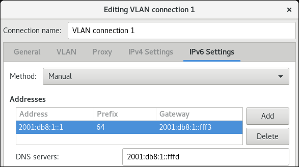 vlan configuración IPv6 nm connection editor