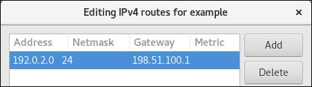 Ruta estática IPv4 en el editor de conexiones nm