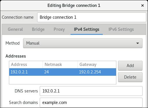 puente configuración IPv4 nm editor de conexiones
