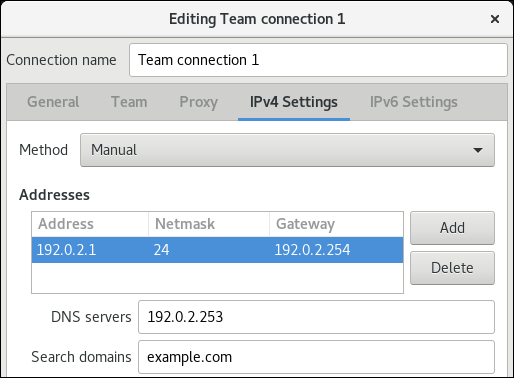 team IPv4 settings nm connection editor