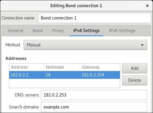 bond IPv4 settings nm connection editor