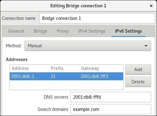 nm 接続エディターで IPv6 設定をブリッジ