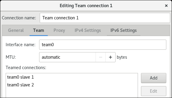 nm 接続エディターで nic をチームに追加