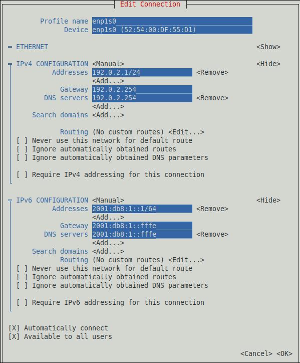 nmtui で接続の追加