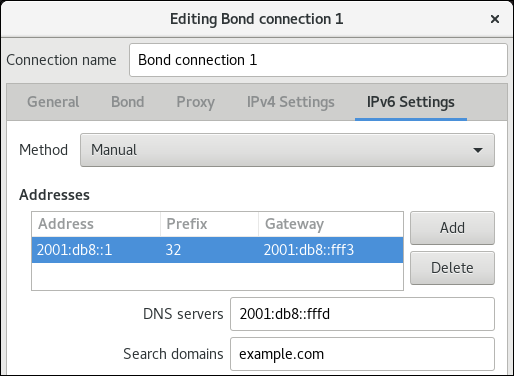 nm 接続エディターで IPv6 設定にボンディング