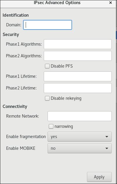 Networking vpn の詳細なオプション