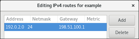 IPv4 static route in nm connection editor