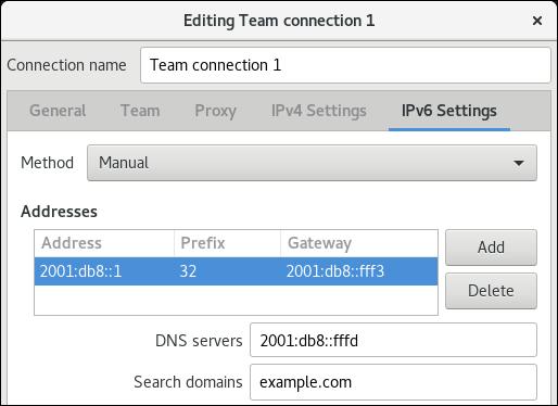 nm 接続エディターでチームの IPv6 設定