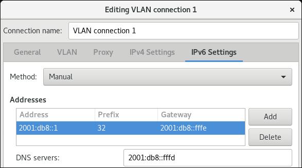 nm 接続エディターにおける VLAN IPv6 設定