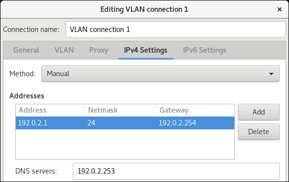 vlan IPv4 settings nm connection editor