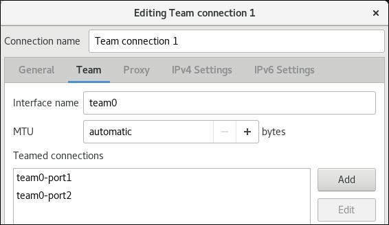 adicionar nic à equipe no editor de conexão nm