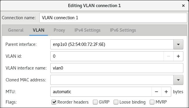 vlan settings nm editor de conexões