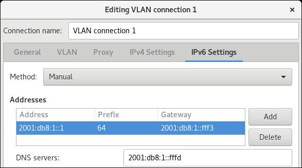 vlan configurações IPv6 editor de conexão nm