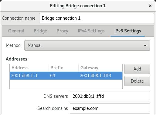 bridge IPv6 settings nm editor de conexão