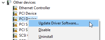 device manager update device menu