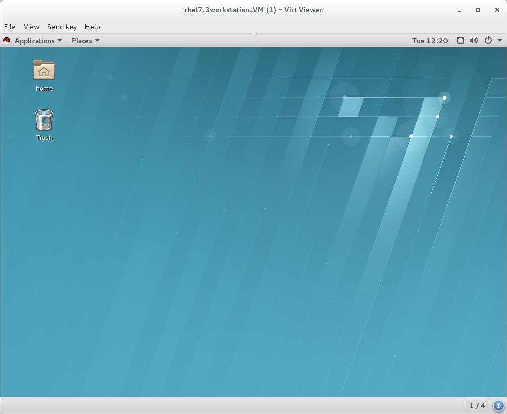 Virt Viewer displaying a RHEL 7 guest OS