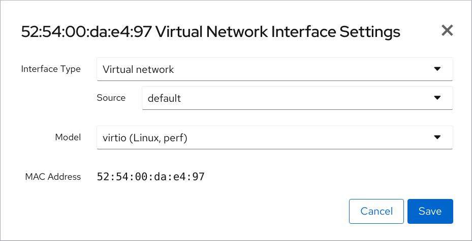 web console virtual network if settings