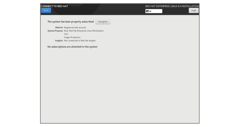 rhel 8.4 system subscription step 4