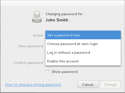 managing users password