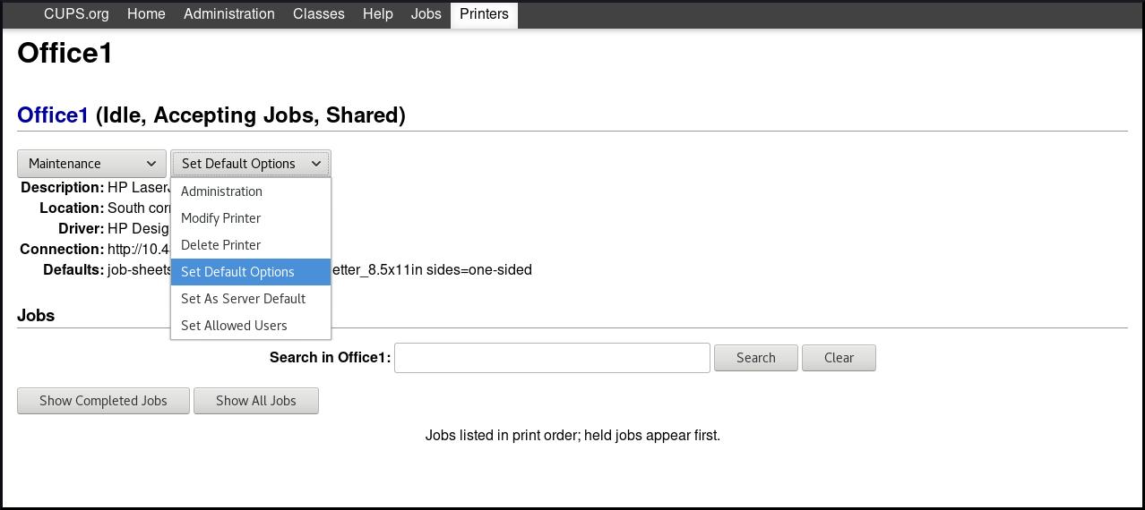 CUPS の Web UI でデフォルトを設定 n1