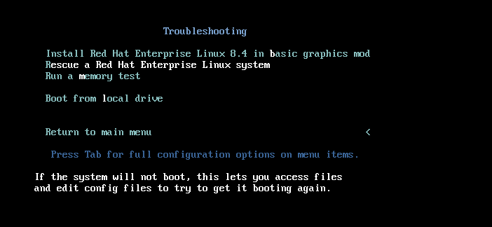 Screenshot of the Troubleshooting screen with the Rescue option selected