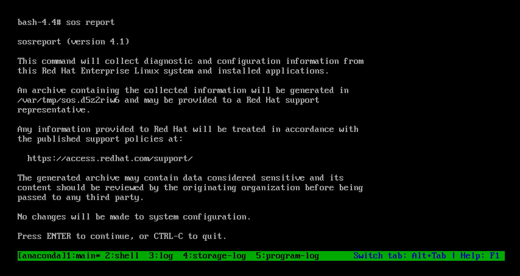 Screenshot of the sos report utility prompting you to press the Enter key to continue running an sos report