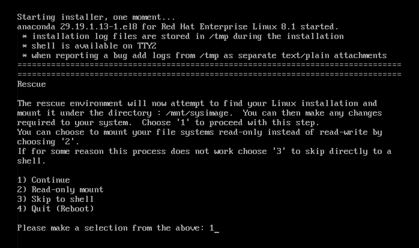 Screenshot of the Rescue screen prompting you to continue and mount the target host under /mnt/sysimage
