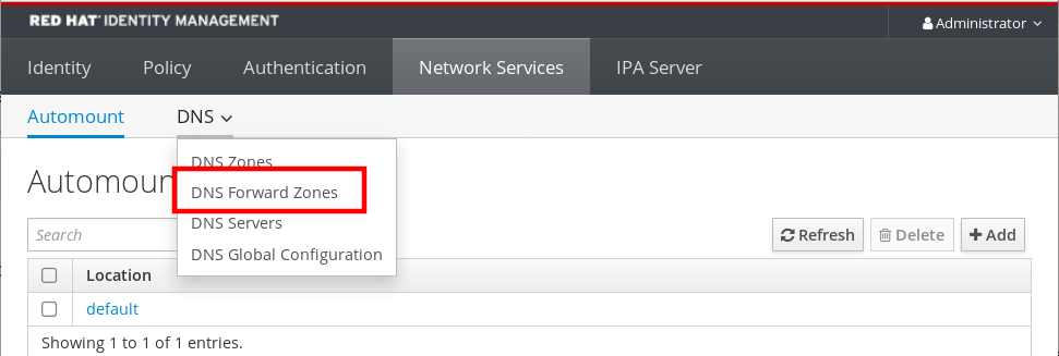 "Screenshot of the IdM Web UI displaying the contents of the DNS drop-down sub-menu of the ""Network Services"" tab. The DNS drop-down menu has four options: DNS Zones - DNS Forward Zones - DNS Servers - DNS Global Configuration. ""DNS Forward Zones"" is highlighted."