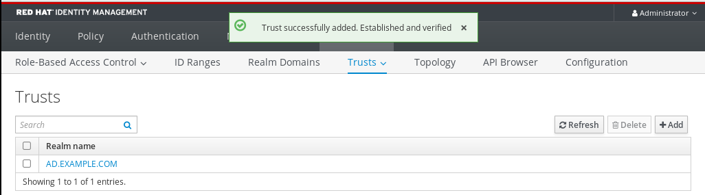 idm trust added