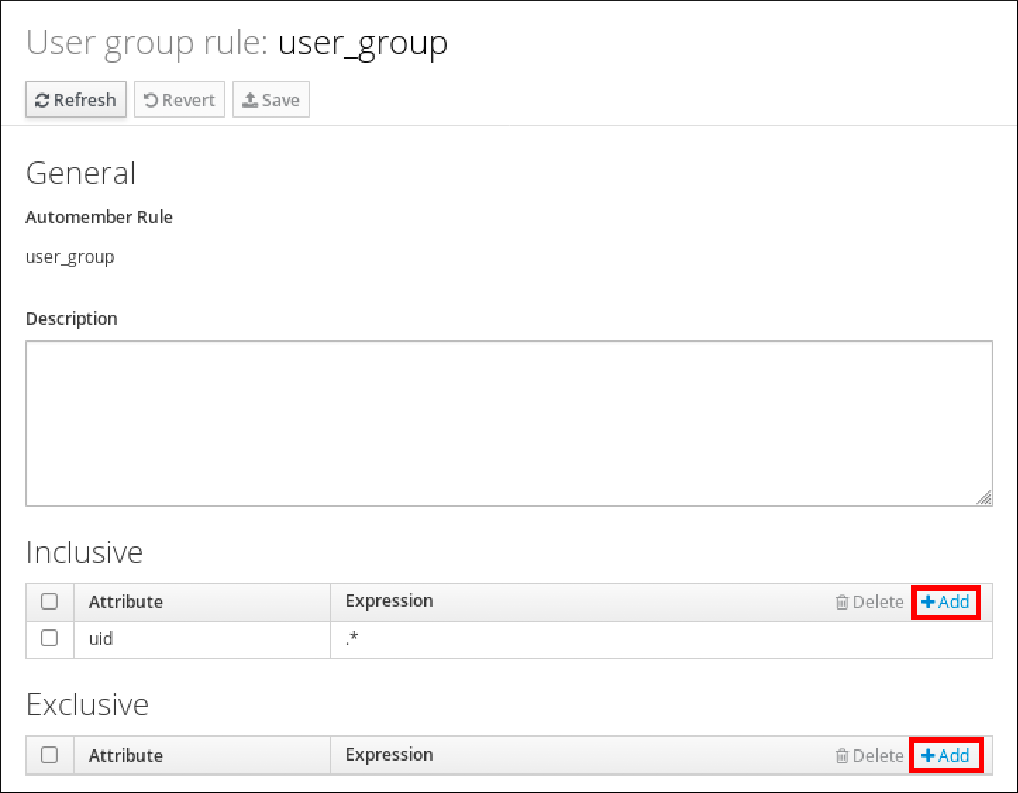 """A screenshot of the User group rule page displaying attributes for the user_group rule. The """"Inclusive"""" section has a table with an """"Attribute"""" column and an """"Expression"""" column with an entry for the Attribute """"uid"""" and its Expression is """".*"""". At the bottom is the Exclusive section which also has a table with an Attribute column and an Expression column but it has no entries."""